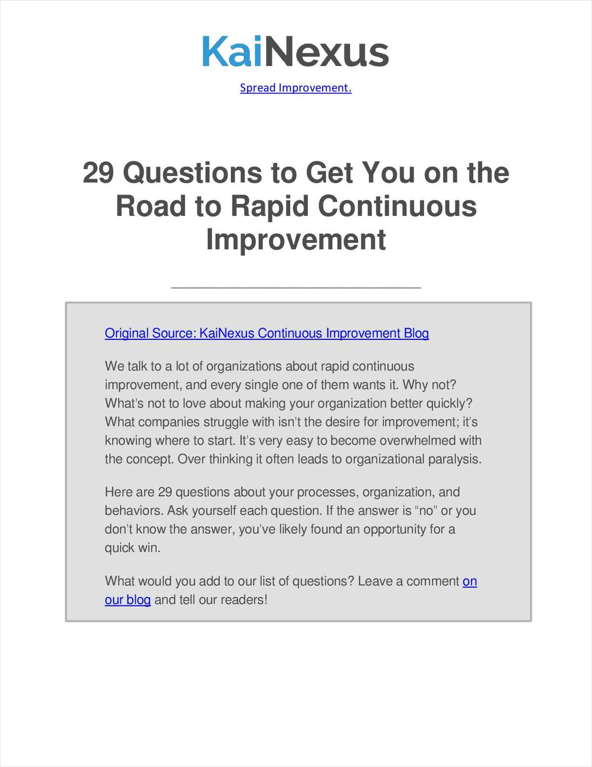 29 Questions to Get You on the Road to Rapid Continuous Improvement