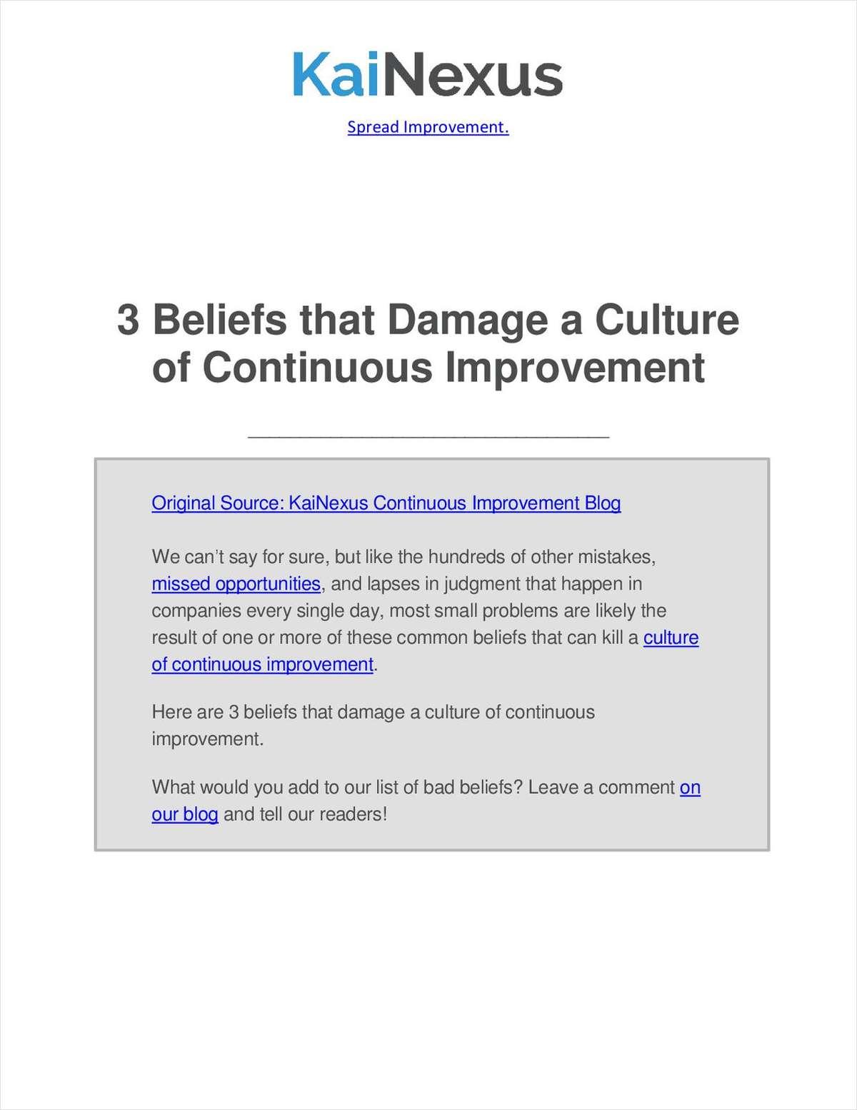 3 Beliefs that Damage a Culture of Continuous Improvement