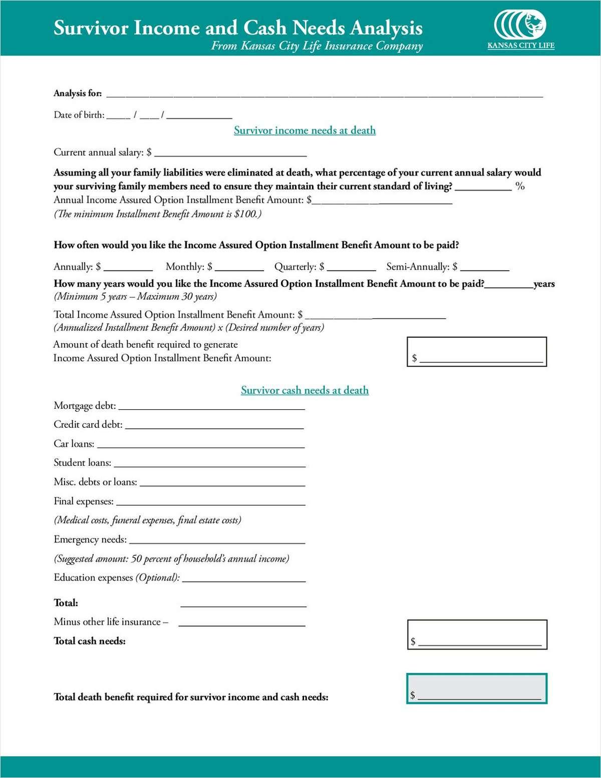 [Advisor Tool] Survivor Income and Cash Needs Analysis Worksheet