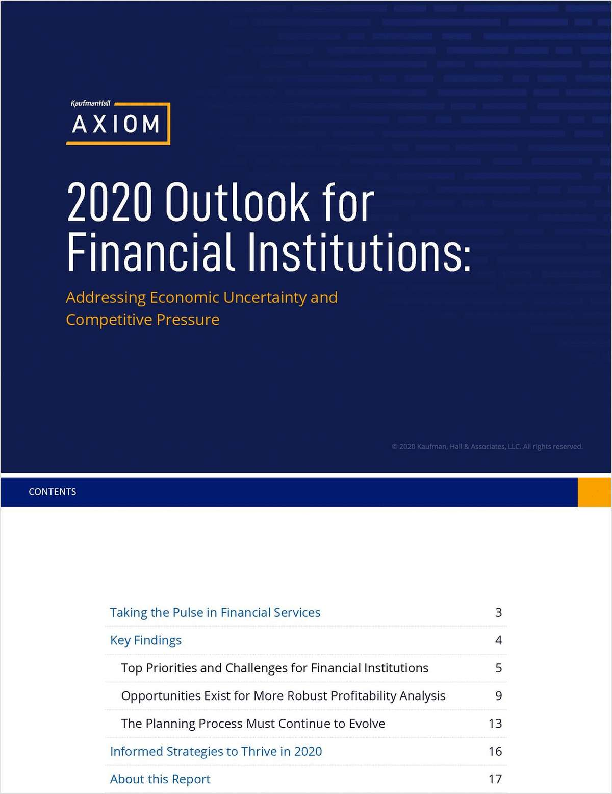 2020 Outlook for Financial Institutions: Addressing Economic Uncertainty and Competitive Pressure