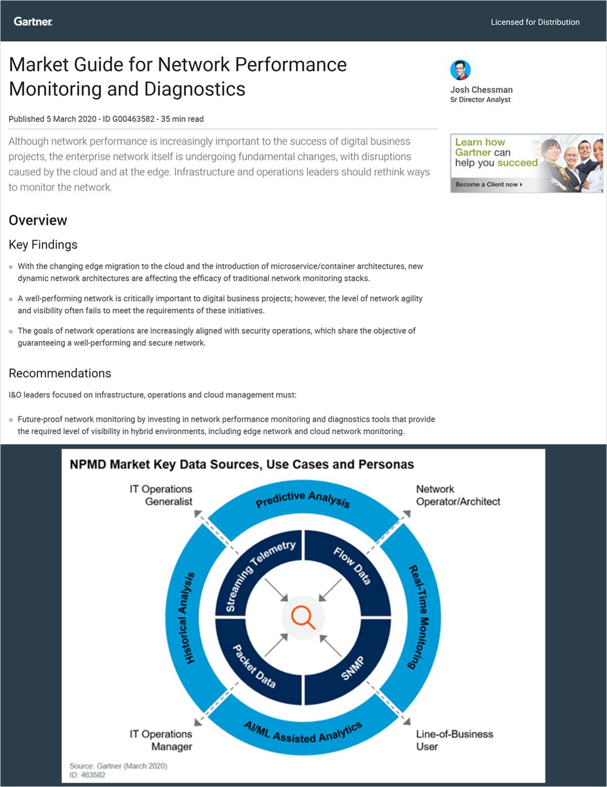 Gartner Market Guide for Network Performance Monitoring and Diagnostics, 2020