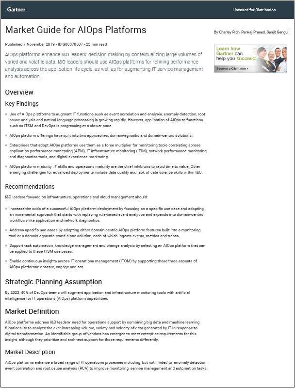 Latest Gartner Market Guide for AIOps Platforms