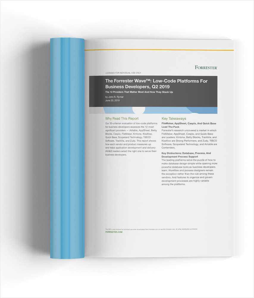 The Forrester New Wave™: Low-Code Platforms For Business Developers, Q2 2019