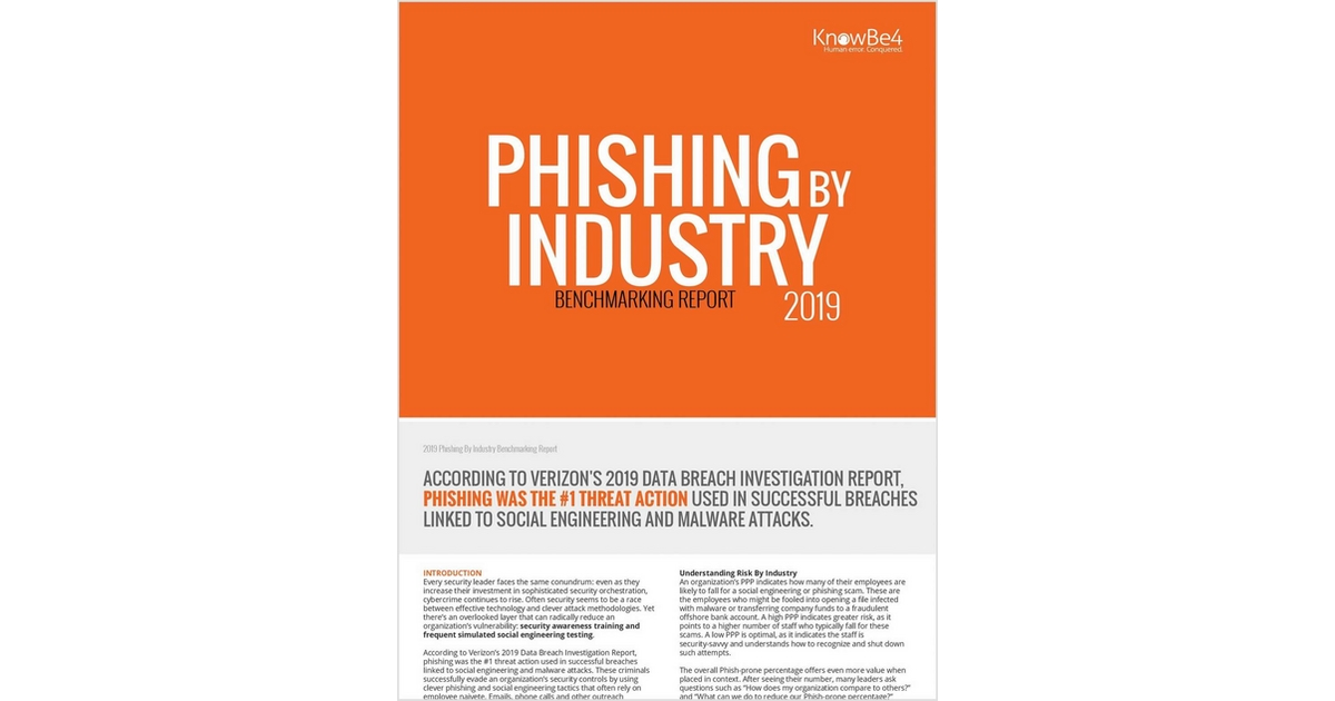 The 2019 Phishing Industry Benchmarking Report, Free KnowBe4 Report