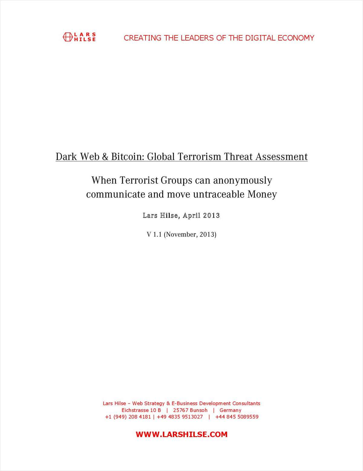 Dark Web & Bitcoin: Global Terrorism Threat Assessment