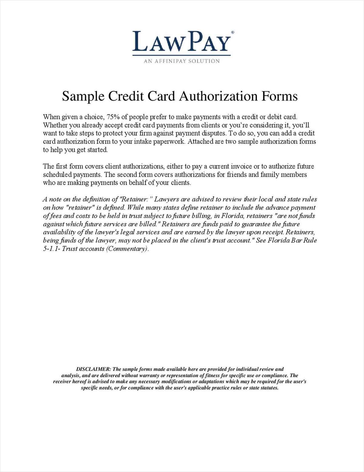 2 Sample Credit Card Authorization Forms