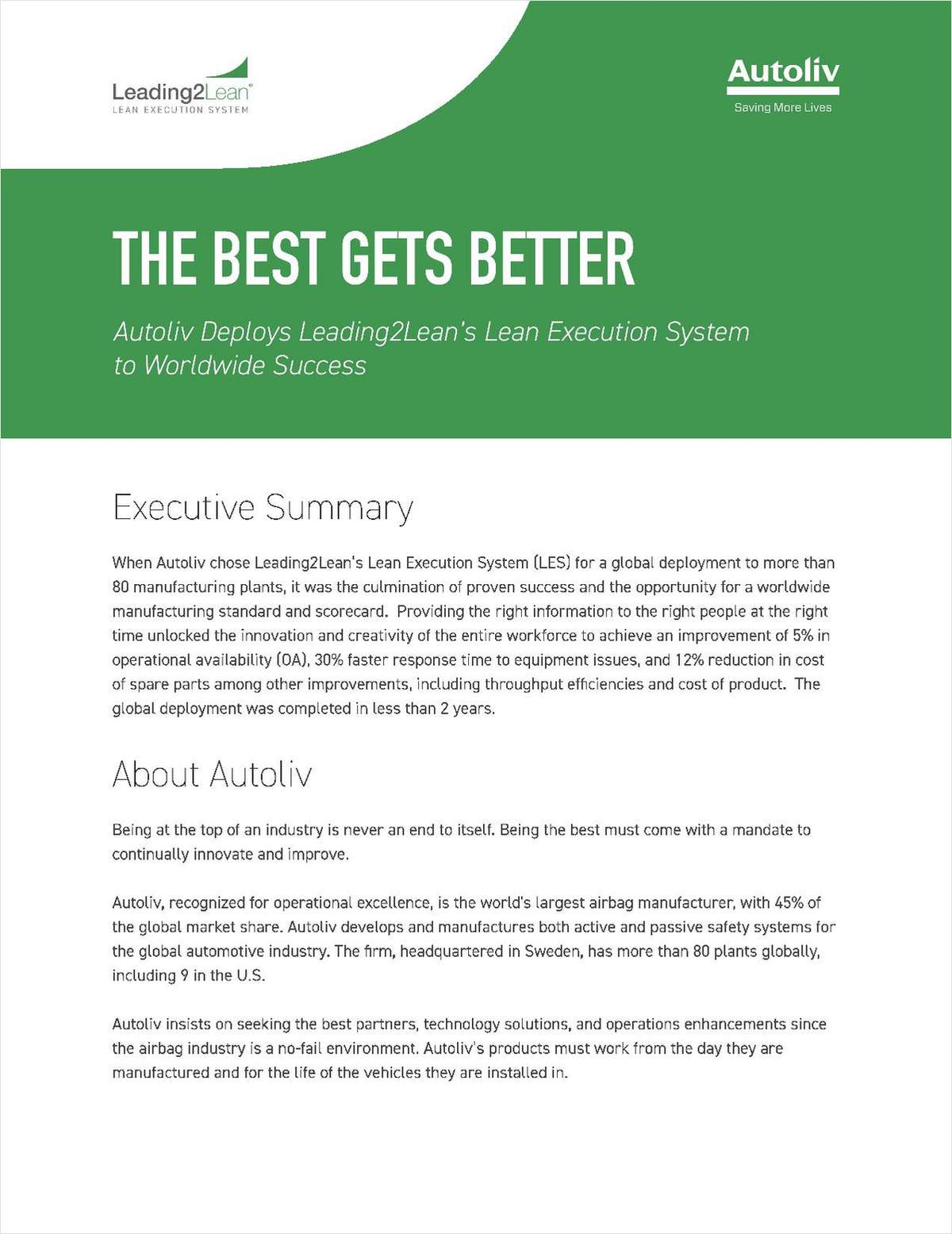 Manufacturer deploys Leading2Lean's Lean Execution System to Worldwide Success