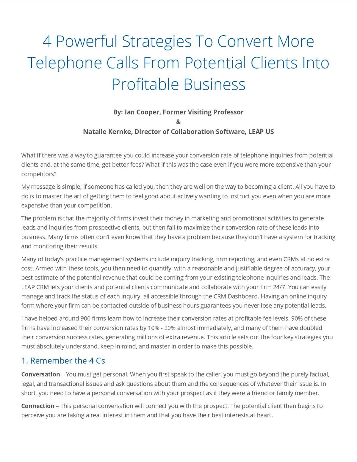 4 Powerful Strategies To Convert More Telephone Calls From Potential Clients Into Profitable Business