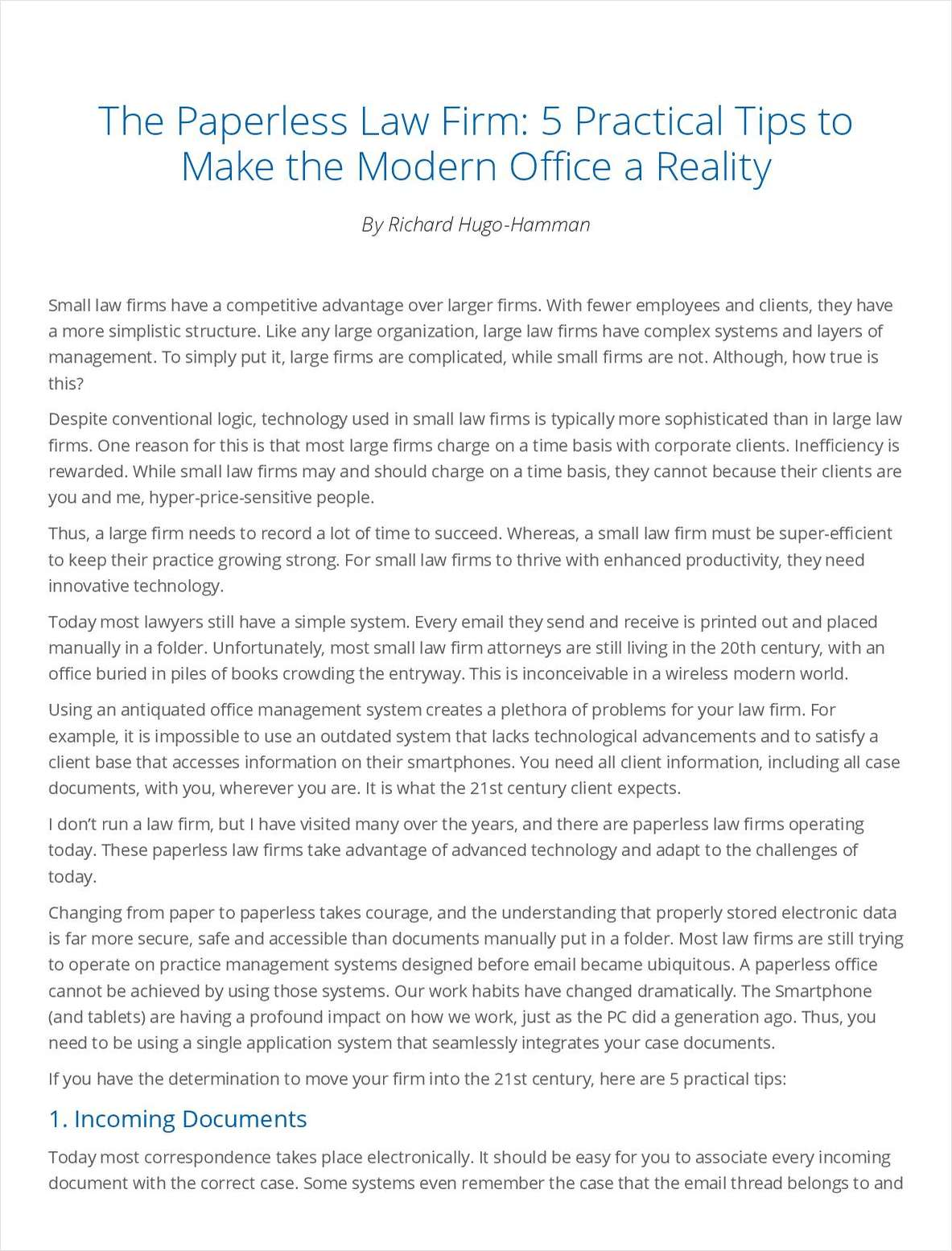 The Paperless Law Firm: 5 Practical Tips to Make the Modern Office a Reality