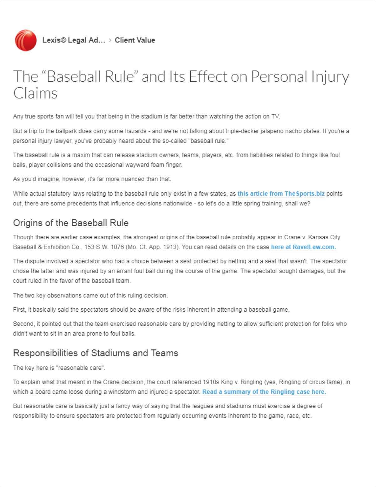 Modern Day Nuances of The 'Baseball Rule' and Its Effect on Personal Injury Claims