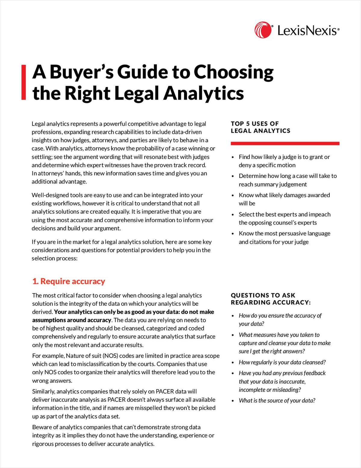 A Buyer's Guide to Choosing the Right Legal Analytics
