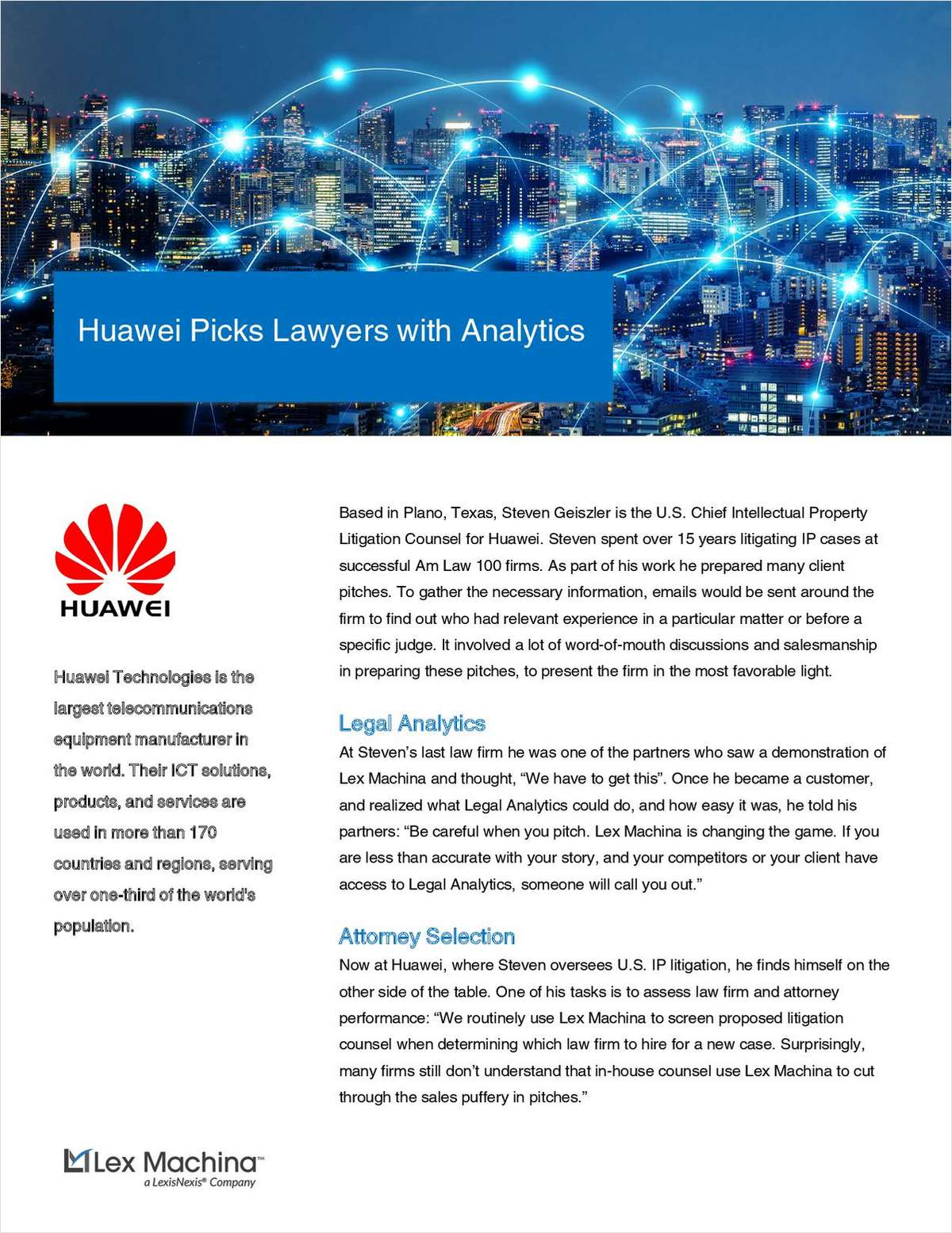 How Analytics Helps Huawei Pick Outside Counsel Lawyers