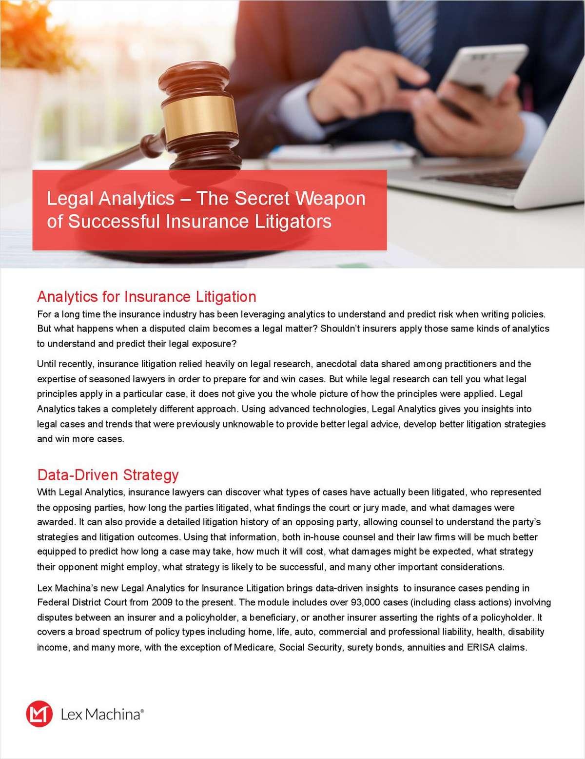 Legal Analytics - The Secret Weapon of Successful Insurance Litigators