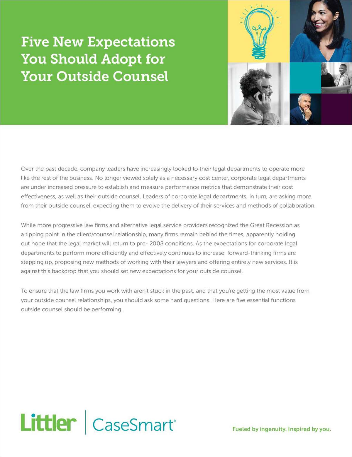 5 New Expectations You Should Adopt for Your Outside Counsel