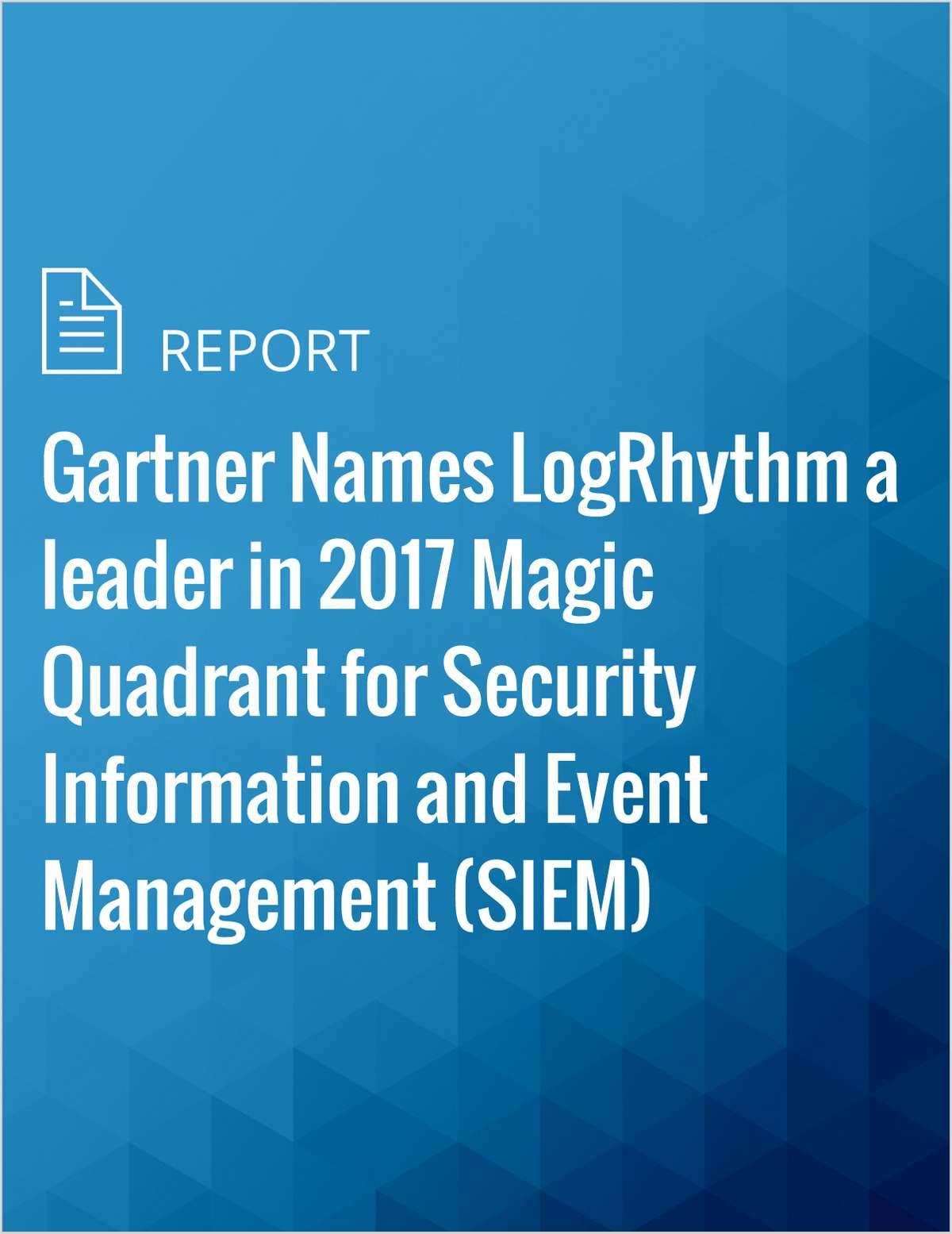 Gartner Names LogRhythm a leader in 2017 Magic Quadrant for Security Information and Event Management (SIEM)
