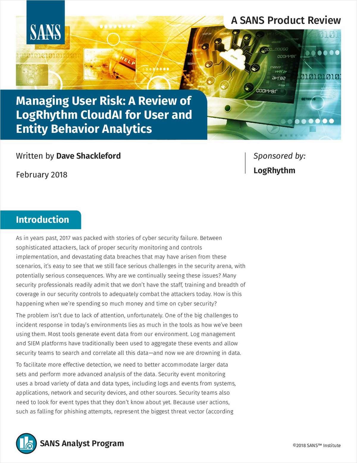SANS Reviews LogRhythm CloudAI for UEBA