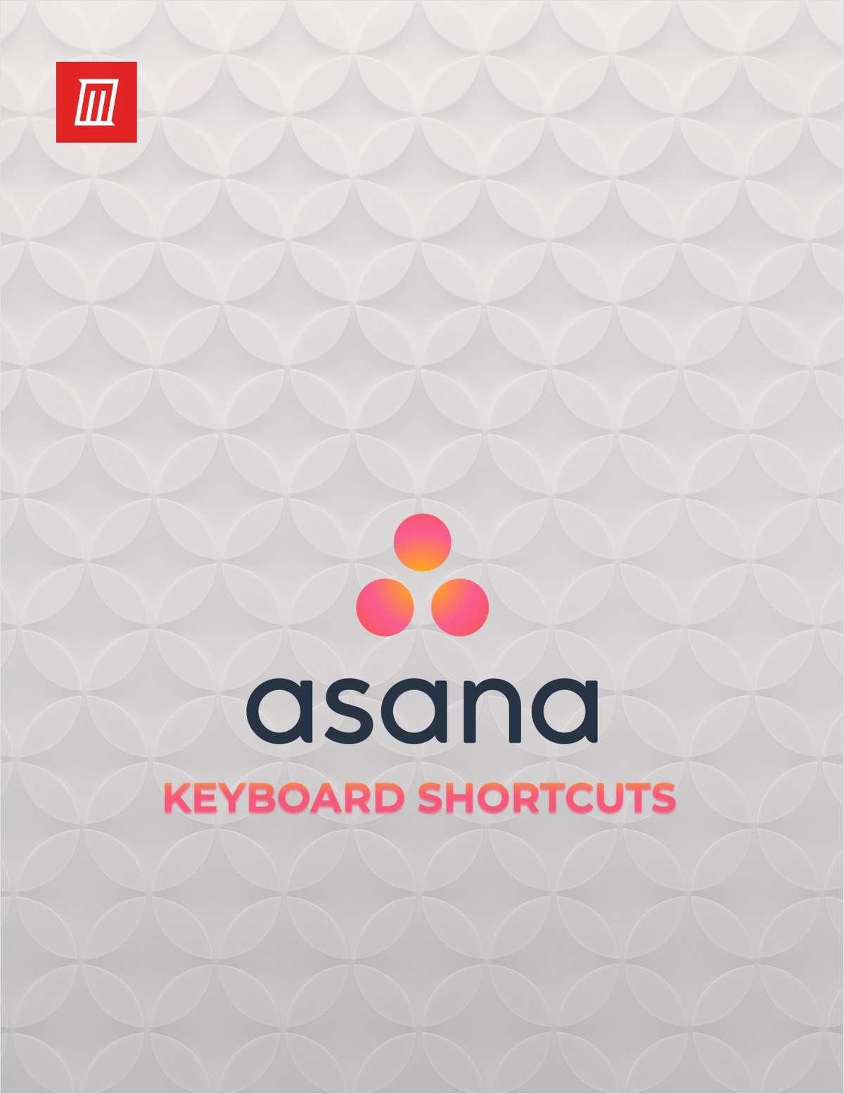 Asana Keyboard Shortcuts Cheat Sheet