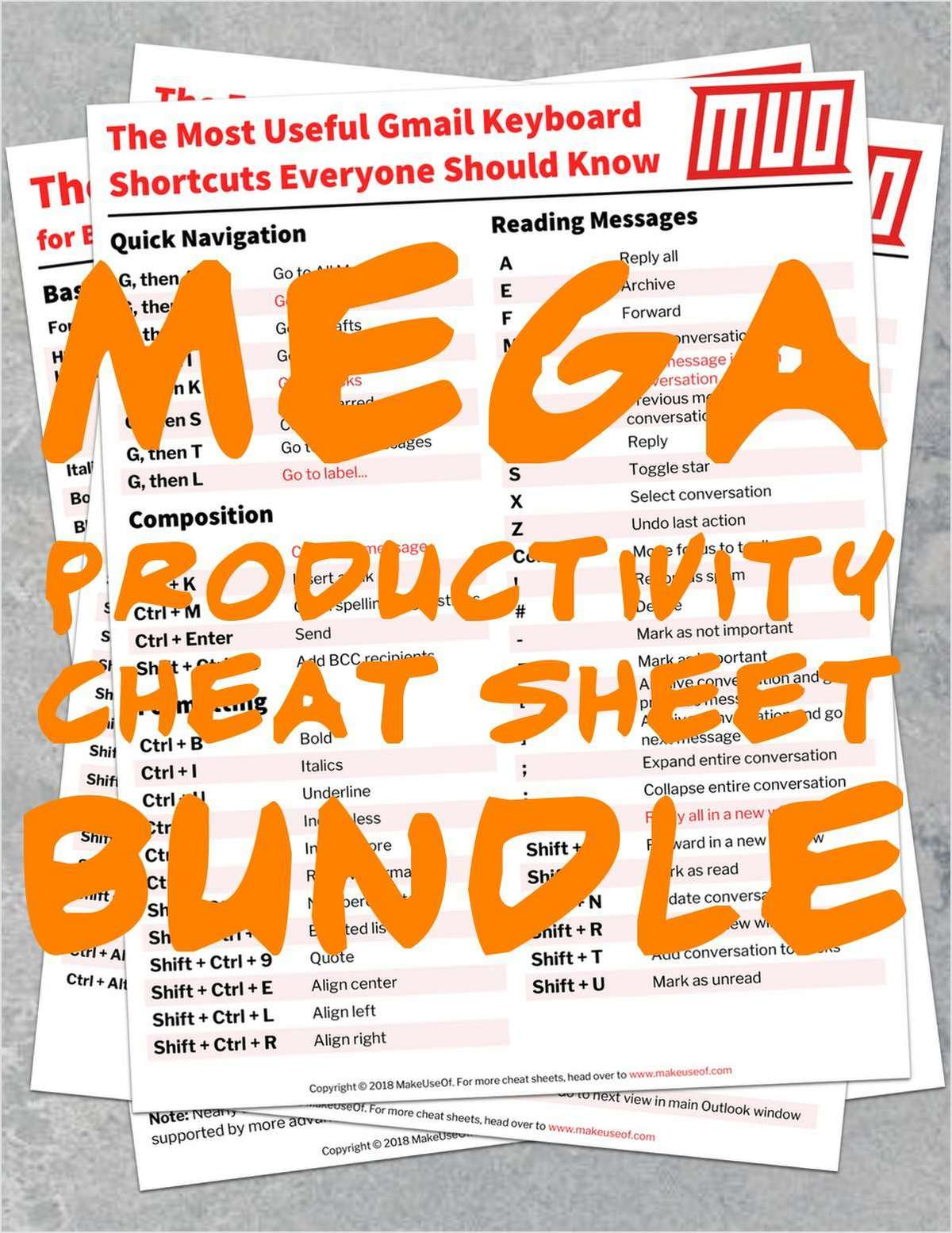 MEGA Productivity Cheat Sheet Bundle