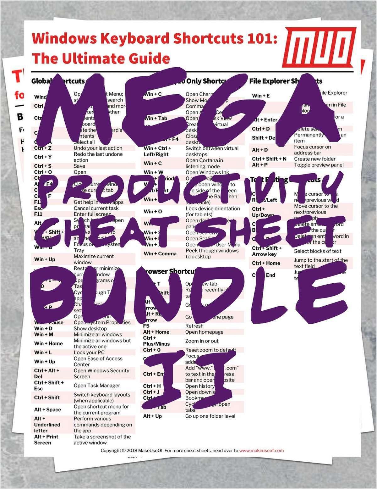 MEGA Productivity Cheat Sheet Bundle 2