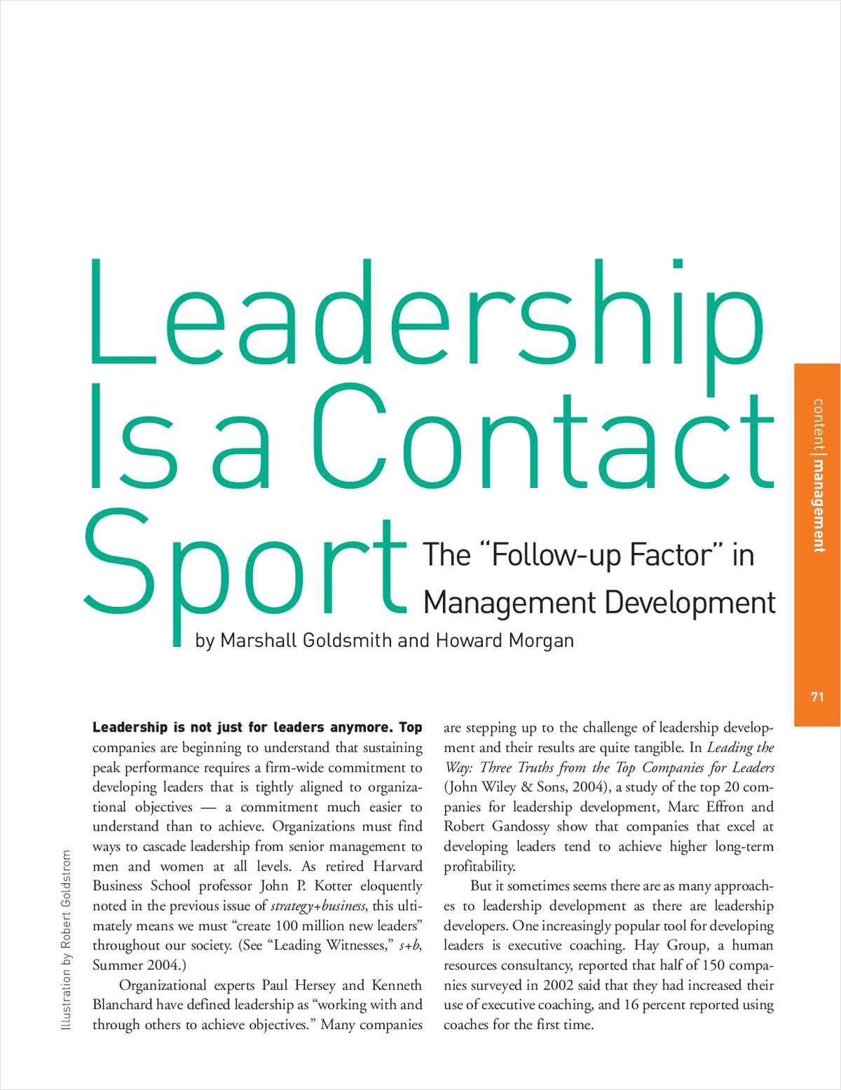 Leadership is a Contact Sport: The Follow-Up Factor in Management Development