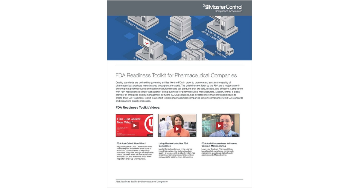 FDA Readiness Toolkit for Pharmaceutical Companies, Free