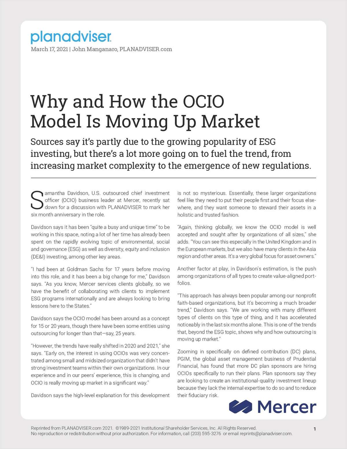 Why and How the OCIO Model Is Moving Up Market