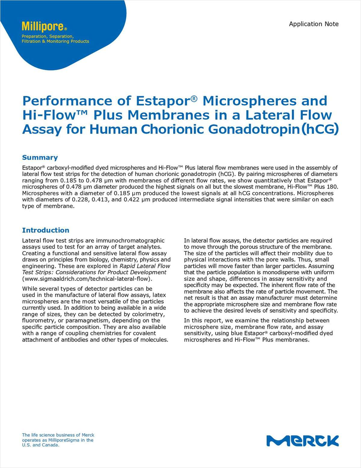 Performance of Estapor Microspheres and Hi-Flow Plus Membranes in a Lateral Flow Assay for Human Chorionic Gonadotropin (hCG)