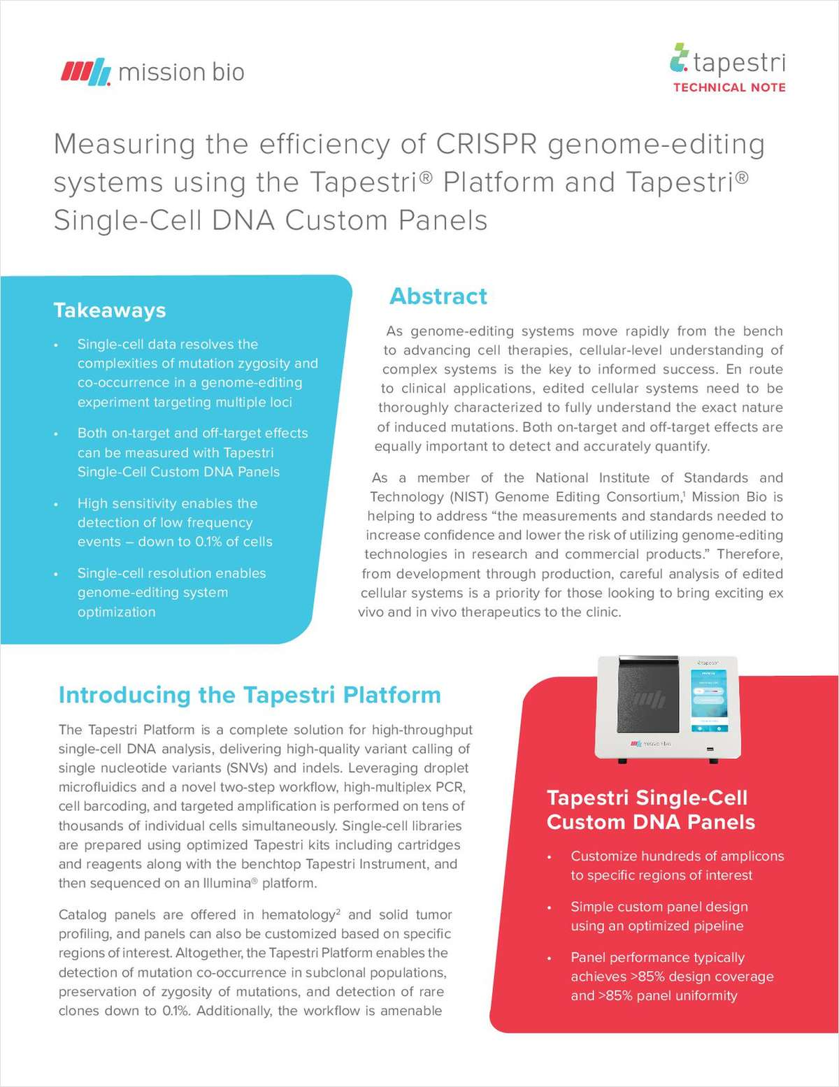 Measuring the Efficiency of CRISPR Genome Editing Systems Using the Tapestri Platform and Tapestri Single-Cell DNA Custom Panels