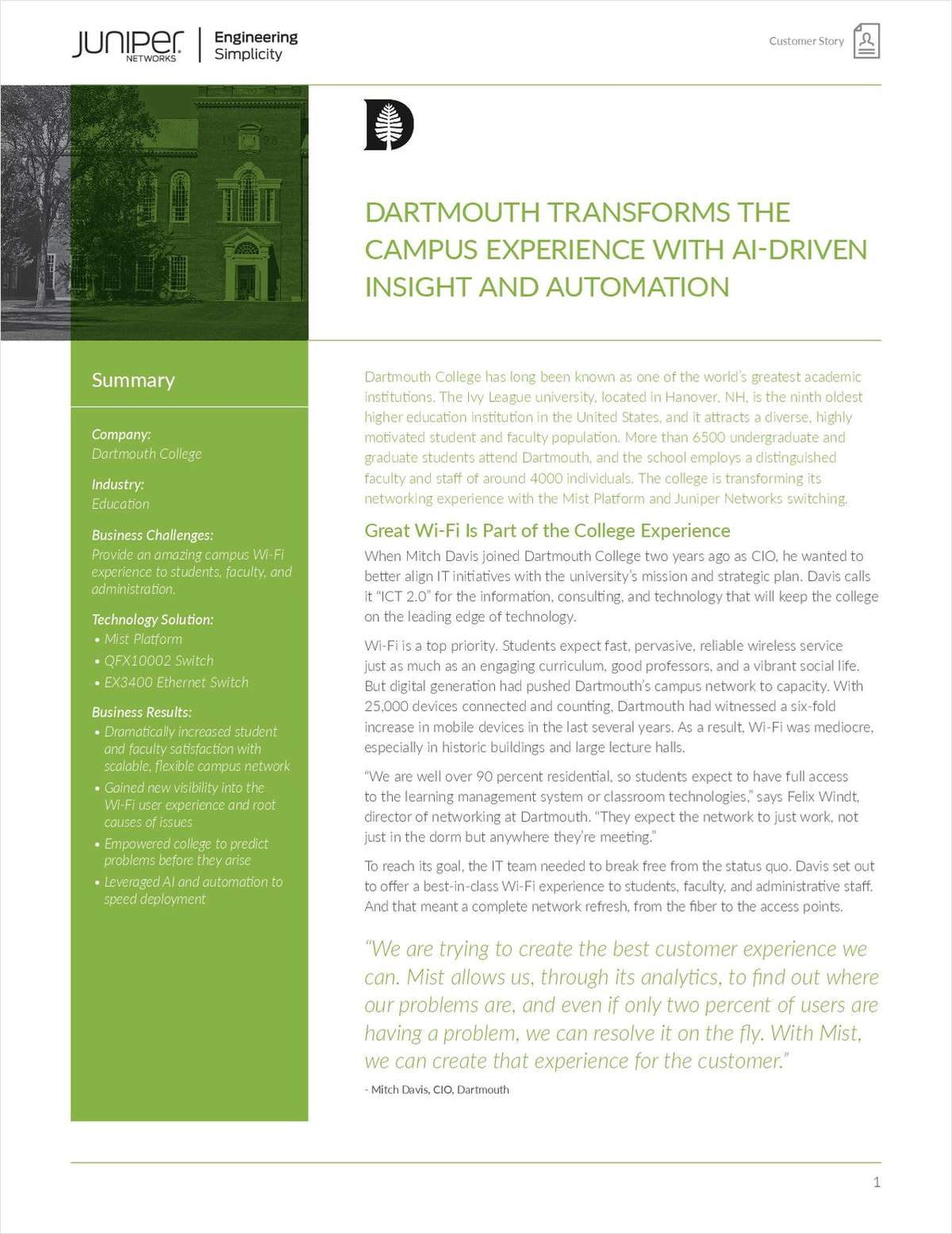 Dartmouth Transforms the Campus Experience with AI-Driven Insight and Automation