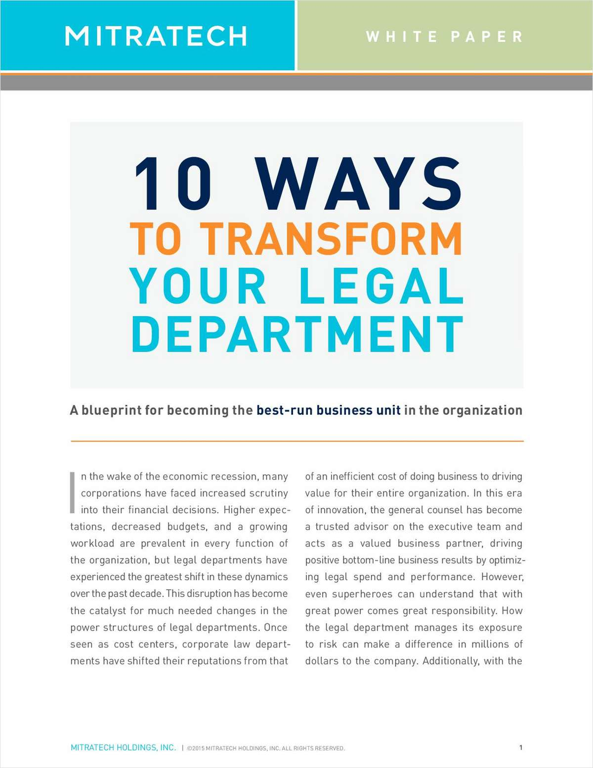 10 Ways to Transform Your Legal Department