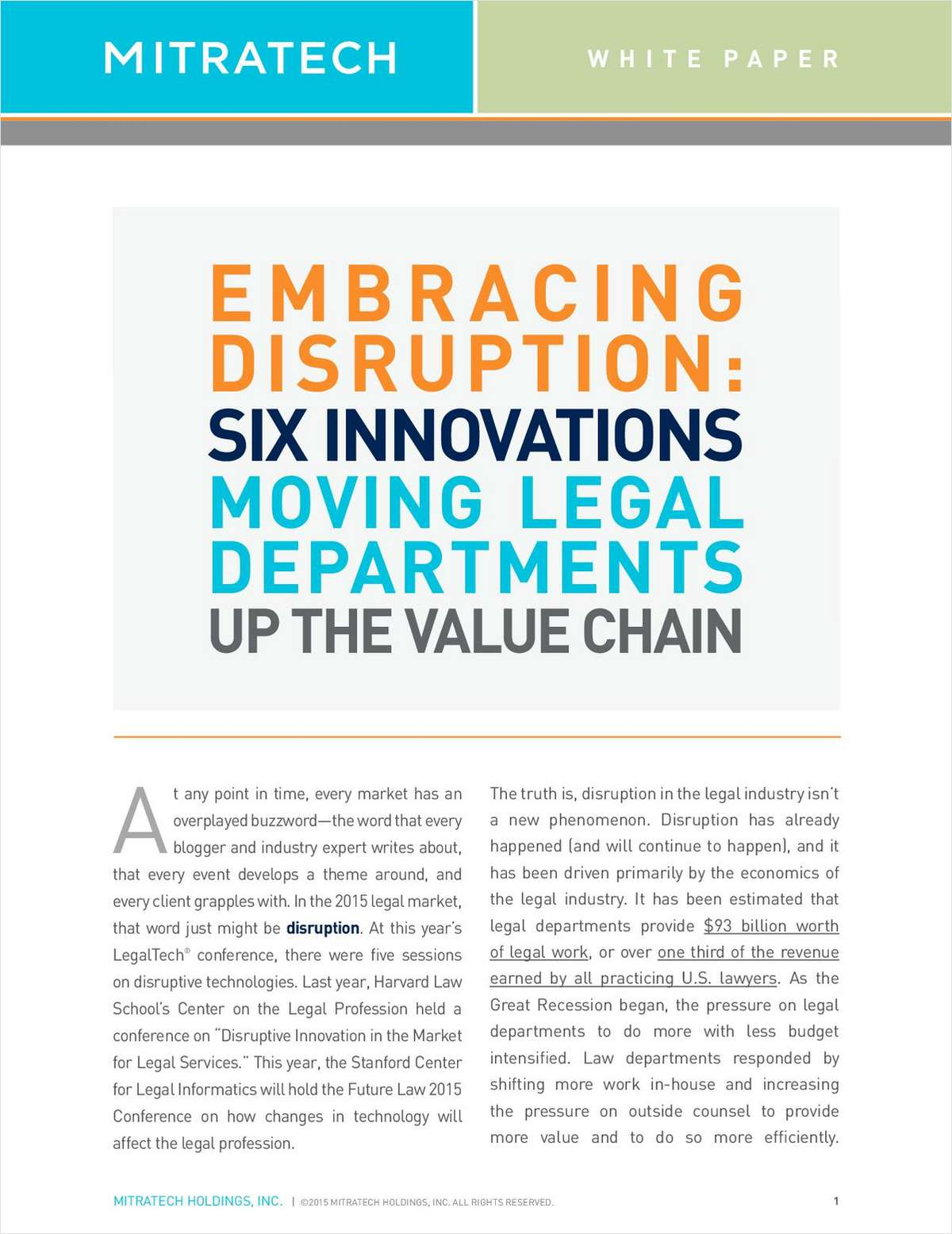 Embracing Disruption: Six Innovations Moving Legal Departments Up the Value Chain