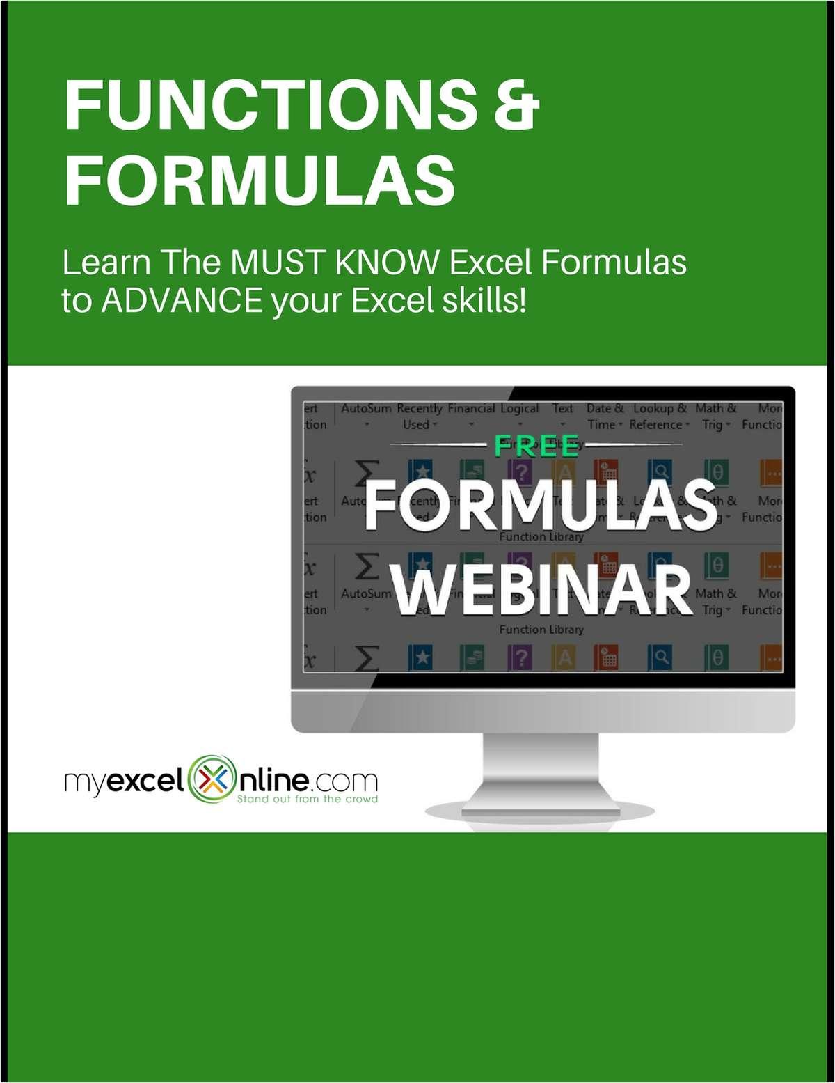 Functions & Formulas Training - Free Excel Webinar