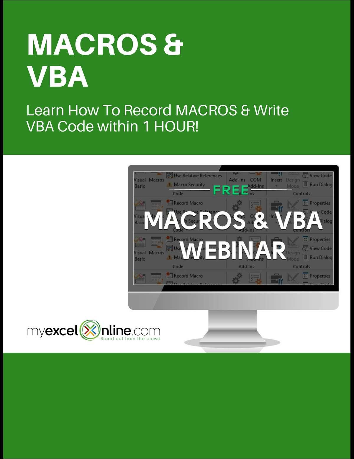 Macros & VBA Training - Free Excel Webinar