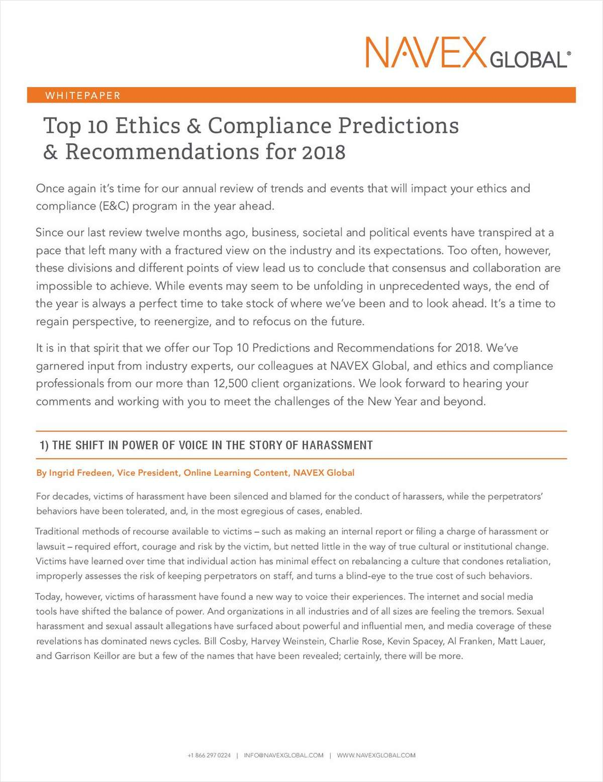 Top 10 Ethics & Compliance Predictions & Recommendations for 2018