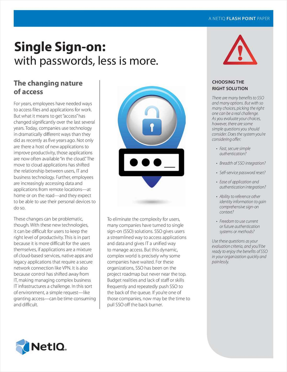 Single Sign-On: With Passwords, Less Is More
