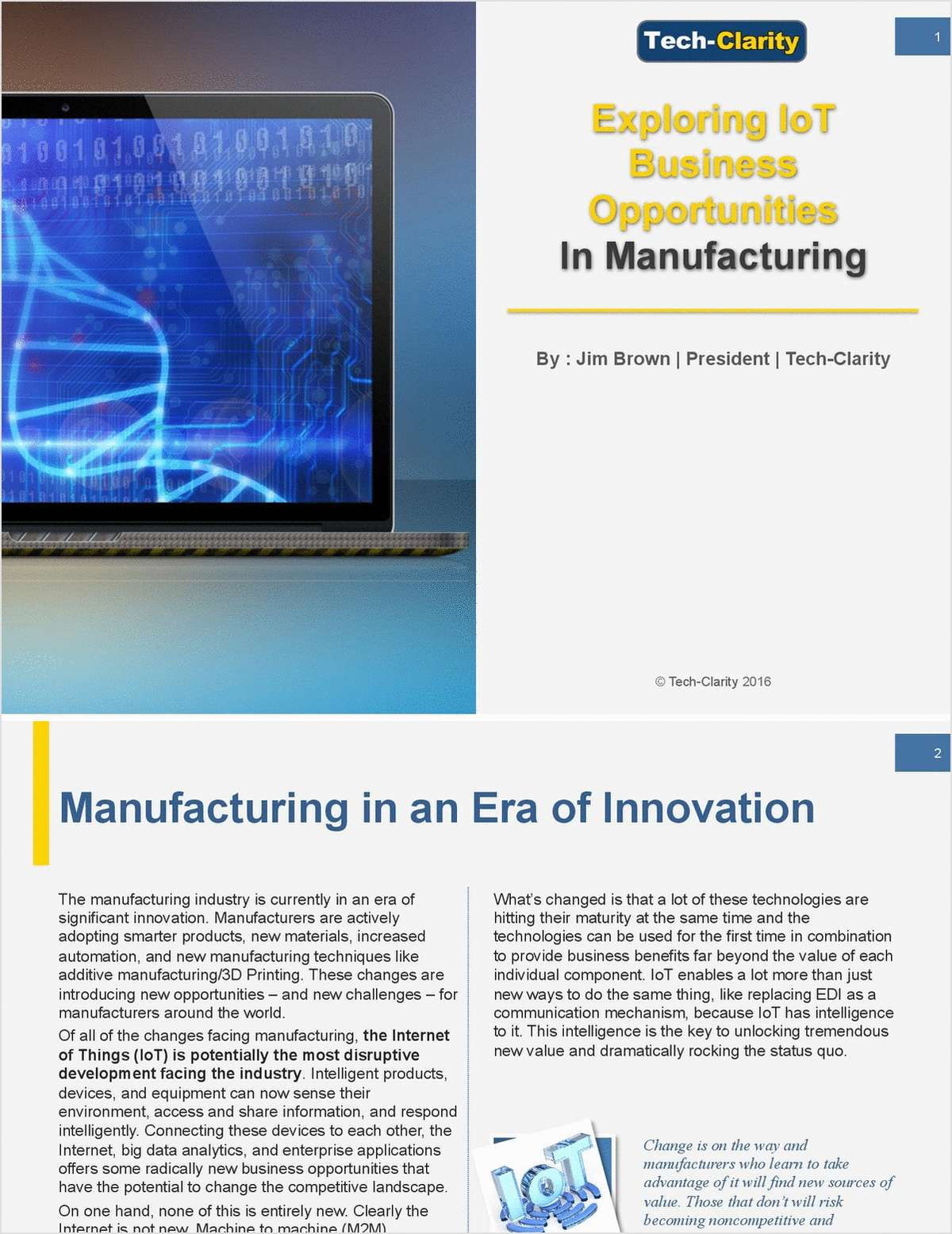 Exploring IoT Business Opportunities in Manufacturing
