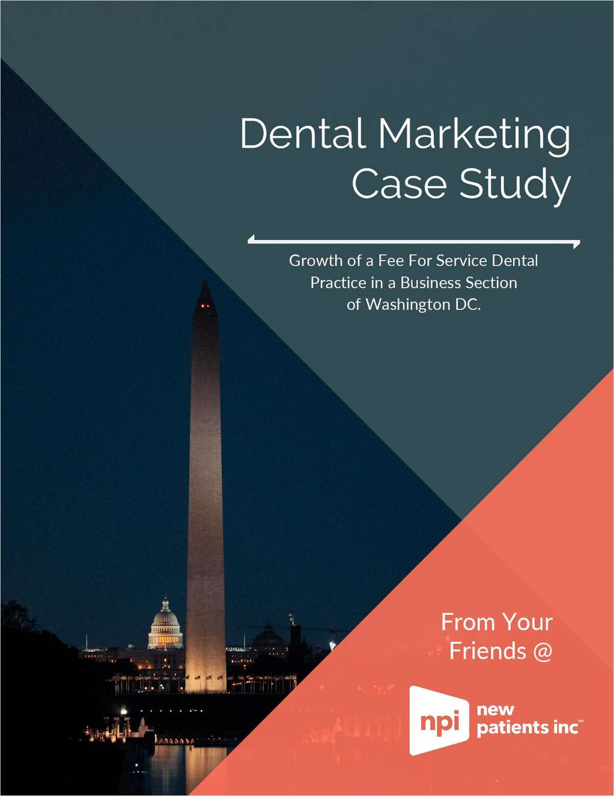 Growth of a fee for service dental practice in a business section of Washington DC.