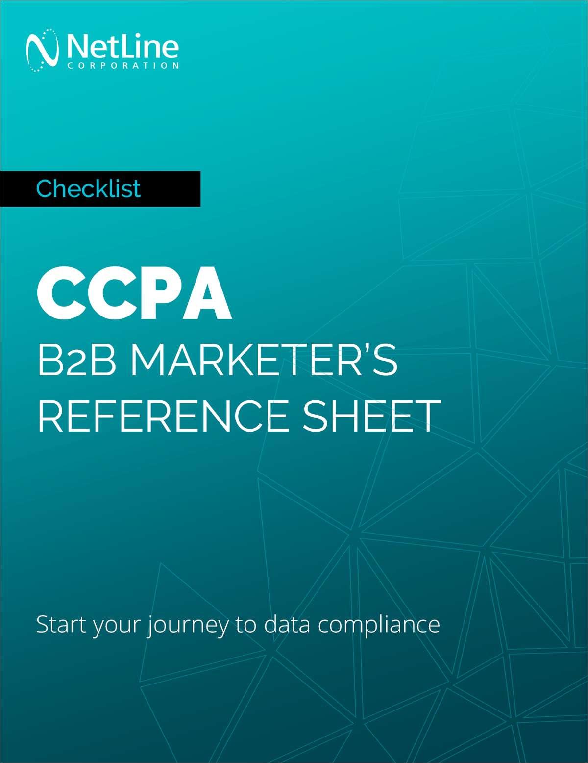 CCPA: B2B Marketer's Reference Sheet
