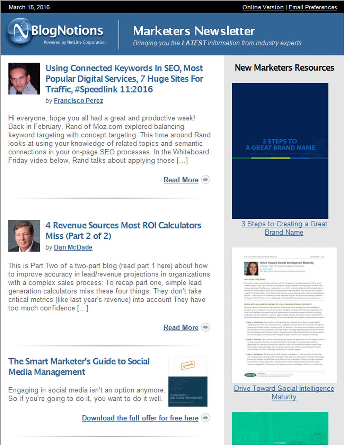BlogNotions Marketers Newsletter: Monthly eNewsletter Featuring Blogs from Industry Experts