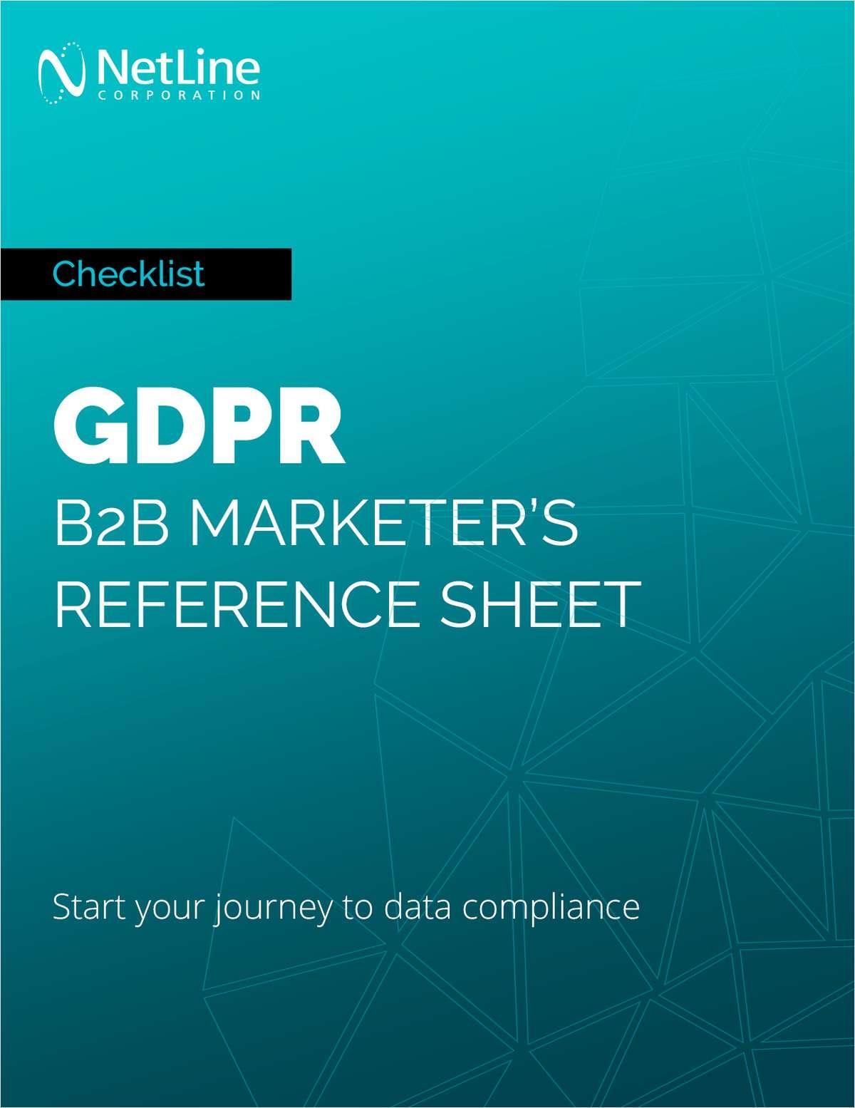 GDPR: B2B Marketer's Reference Sheet