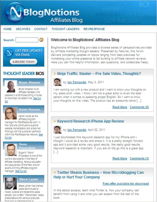 BlogNotions Affiliates Newsletter: Monthly eNewsletter Featuring Blogs from Industry Experts