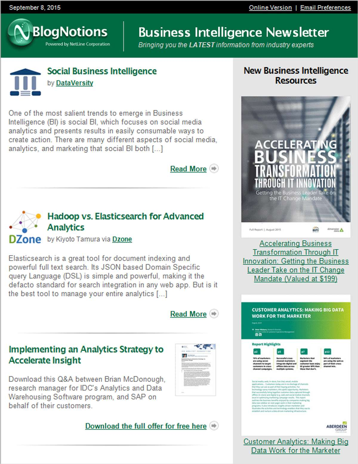 BlogNotions Business Intelligence Newsletter: Monthly eNewsletter Featuring Blogs from Industry Experts