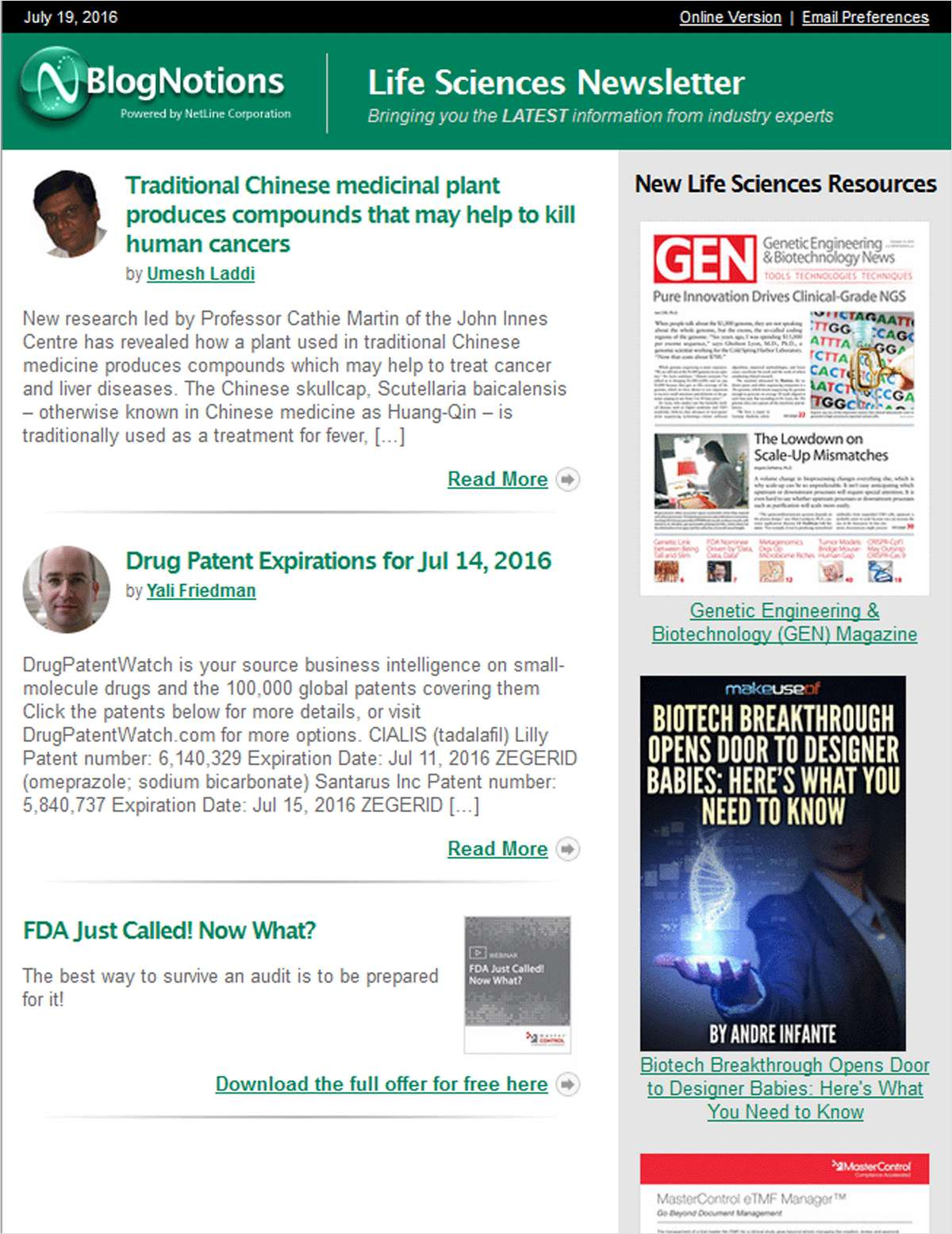 BlogNotions Life Sciences Newsletter: Monthly eNewsletter Featuring Blogs from Industry Experts
