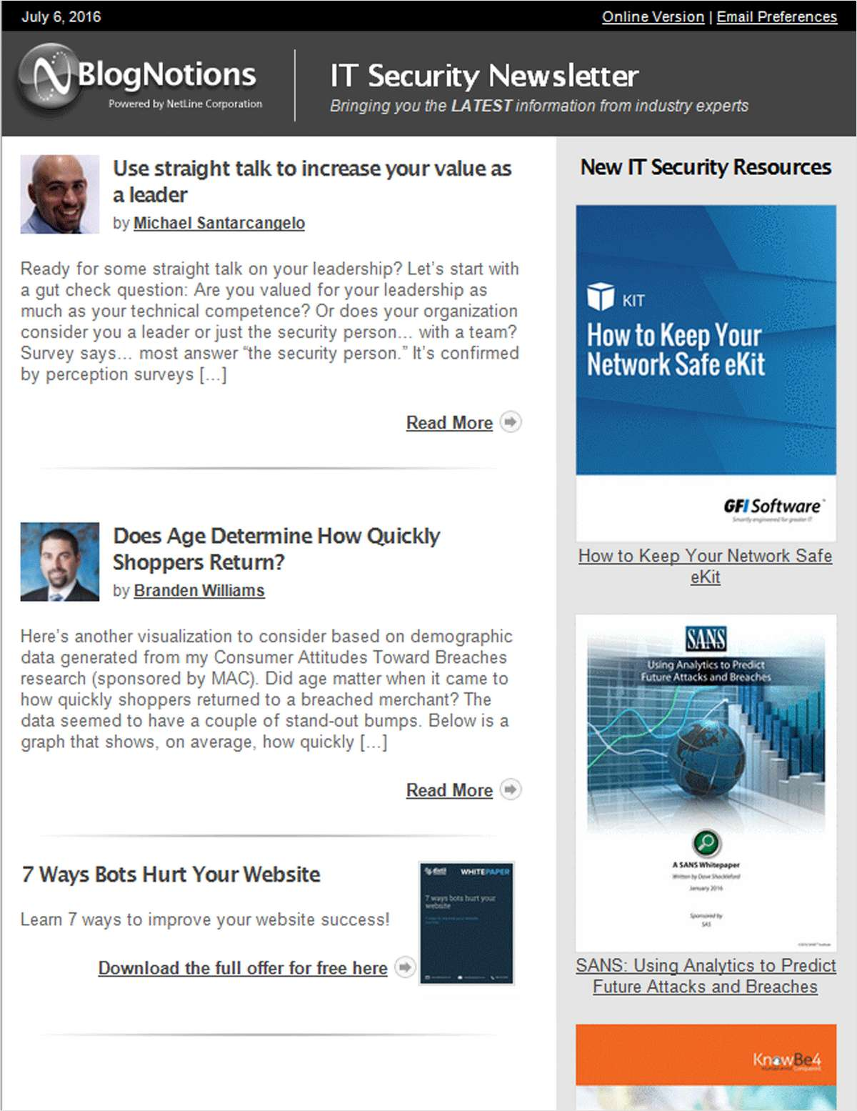 BlogNotions IT Security Newsletter: Monthly eNewsletter Featuring Blogs from Industry Experts