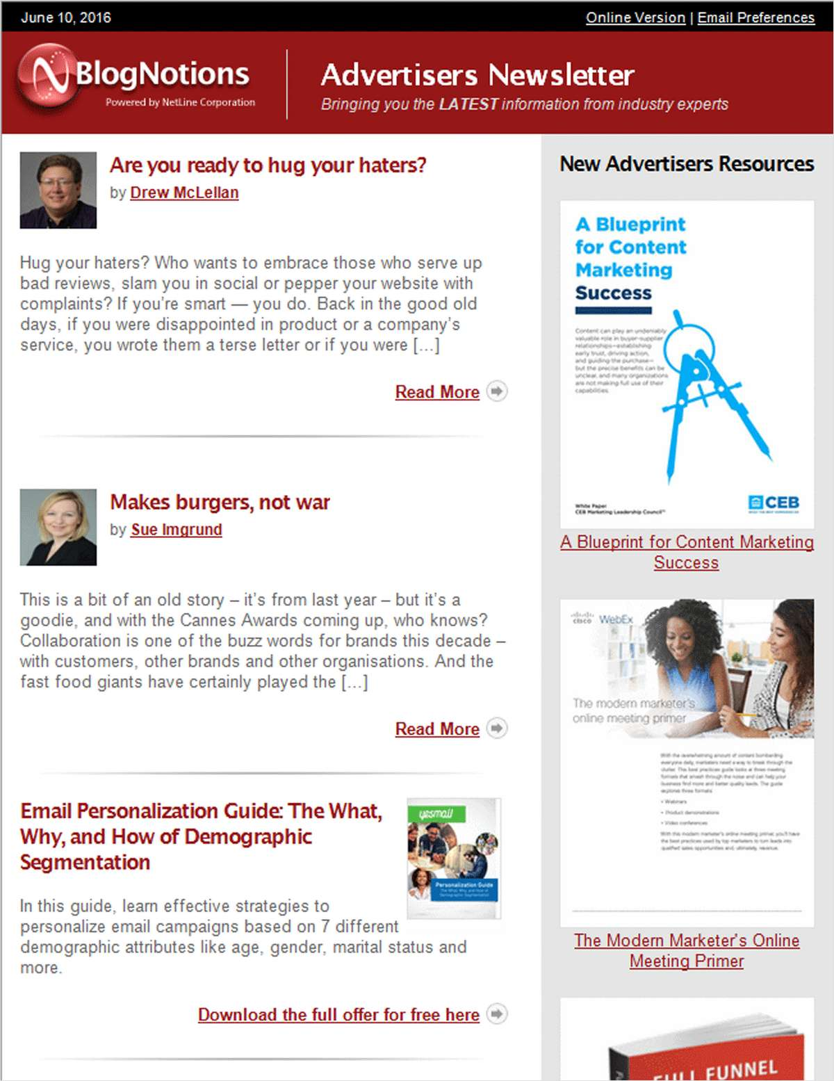 BlogNotions Advertisers Newsletter: Monthly eNewsletter Featuring Blogs from Industry Experts