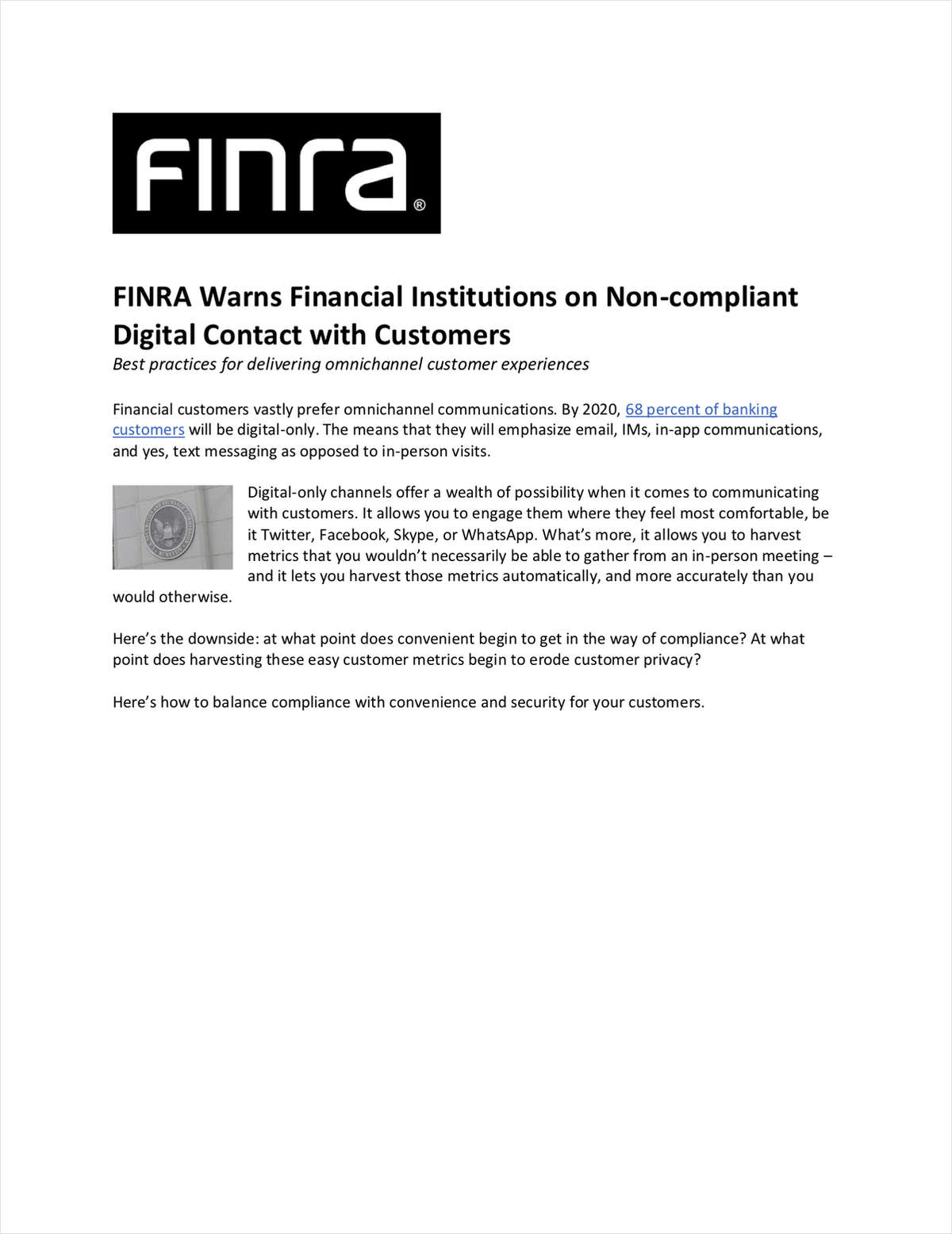 FINRA Warns Financial Institutions on Non-compliant Digital Contact with Customers