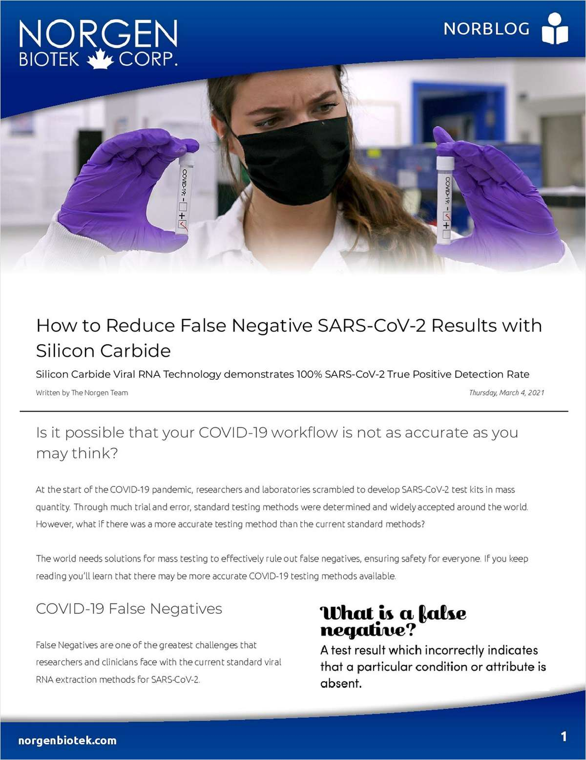 How to Reduce False Negative SARS-CoV-2 Results with  Silicon Carbide