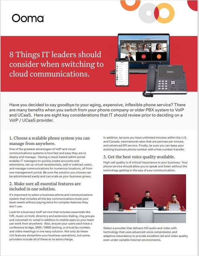 8 Things IT leaders should consider when switching to cloud communications.