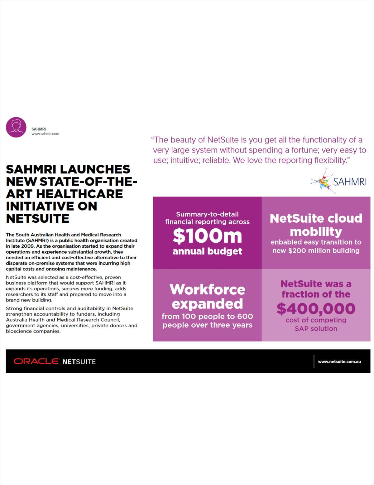 SAHMRI Launches New State-of-the-Art Healthcare Initiative on NetSuite