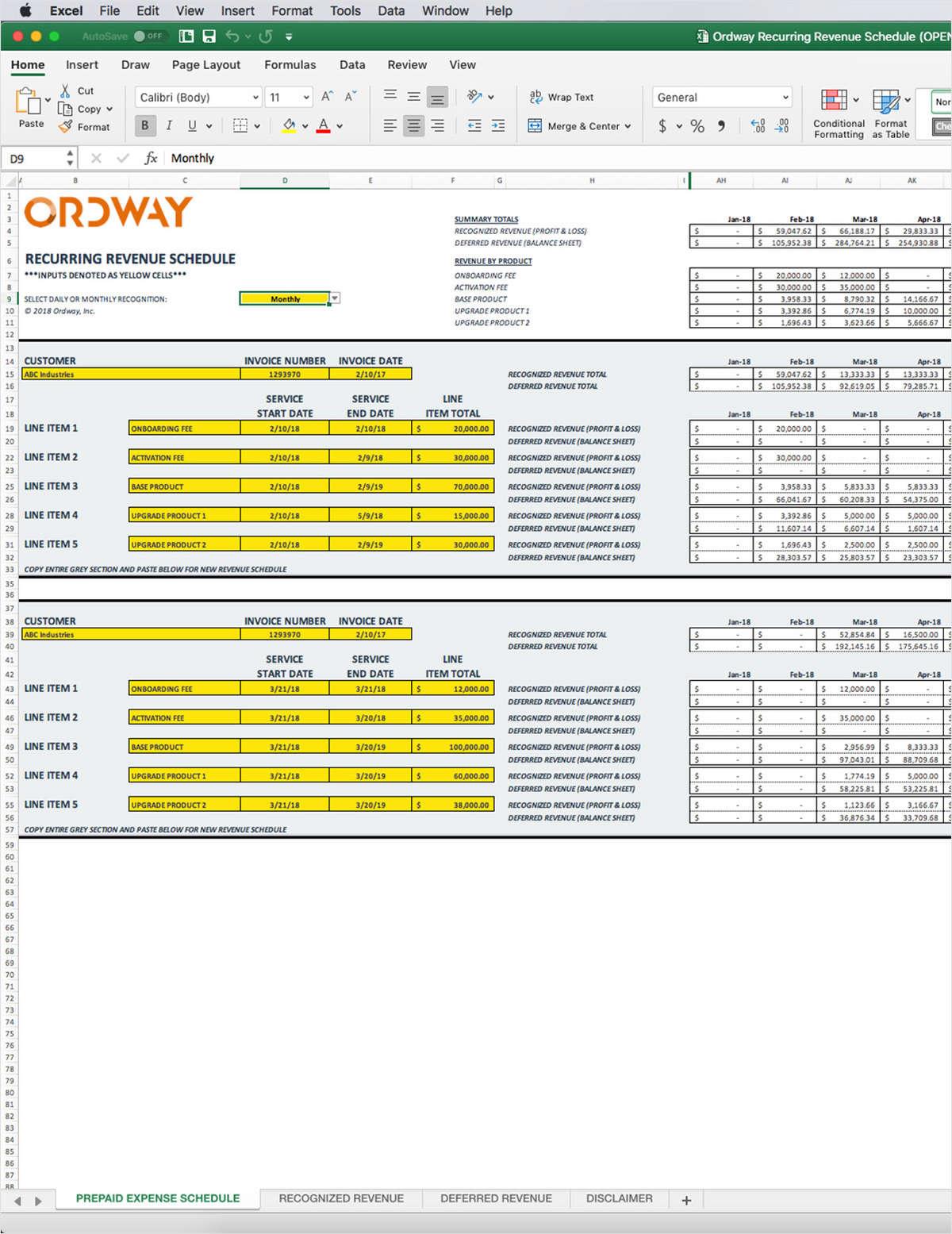 Recurring Revenue Model Excel Template